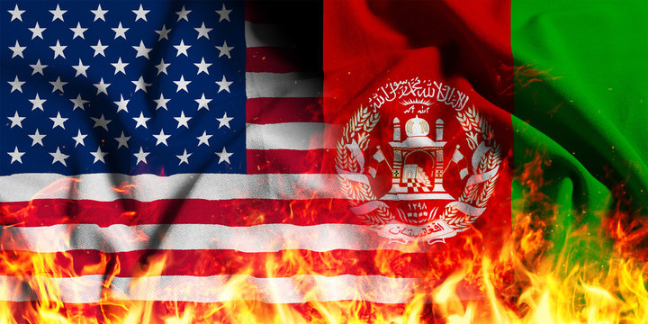 National flag of the United States with Afghanistan on a waving cotton with a fire texture