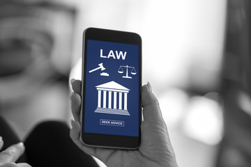 Law concept on a smartphone