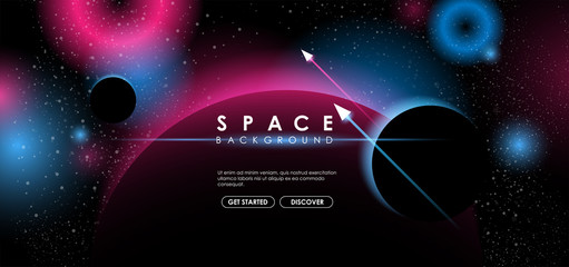 Creative space background with abstract shape and planets. Colorful space poster with text template. Vector infinite Galaxy background. Fotomurales