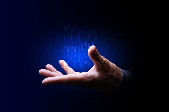 mano, palmo, tecnologia informatica