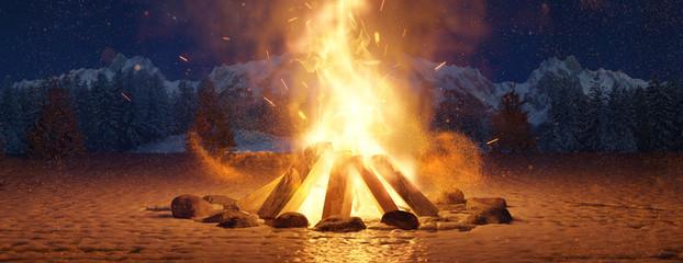 Glühendes Lagerfeuer im Schnee bei Nacht auf offenem Feld. 3D Rendering