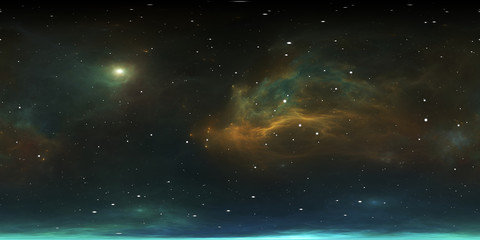 Fototapete - 360 degree stellar system and gas nebula. Panorama, environment 360 HDRI map. Equirectangular projection, spherical panorama