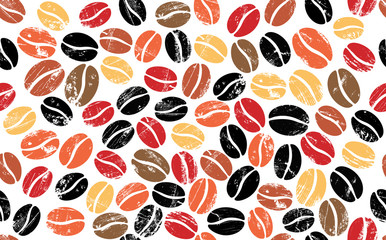 Colorful Coffee Beans on White Background. Vector Abstract Seamless  Pattern.