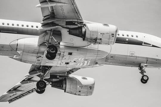 Cool black and white picture of the belly of an Airbus A320 landing with landing gear extended taken from underneath the plane