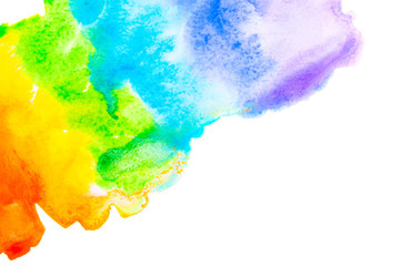 Abstract watercolor rainbow isolated on white background.