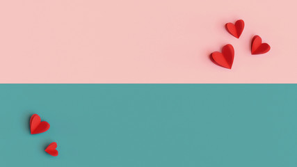 Valentines Day background, colorful decoration design with space for text. Paper cut red hearts on multicolored pastel pink, turquoise background, top view concept. Romantic concept, flat lay nubes.