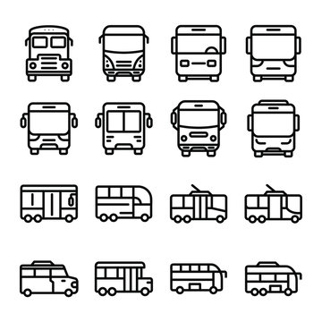 Set of bus icon. Vector illustration. Isolated on white background. Public transport related icons. Editable stroke. Thin vector icon set