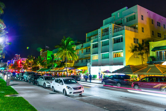 Night view at Ocean drive in South Miami