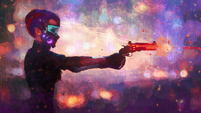 Digital illustration of cyberpunk girl with short hair in futuristic gas mask with filters and green glasses protection from air pollution in stylish jacket holding gun on night light bokeh in city