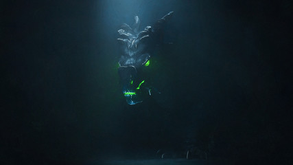 Digital illustration of huge medieval dragon with glowing green eyes and flames in a dark cave. Mythical creature. Concept art of the dragon head in the Gothic style. Game location of the final boss.