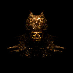 Scary golden skull in a decorative bronze crown with oriental ornaments. Concept art of a creepy gothic skull of a dead ancient king. Dark fantasy. Devil Mask. 3d illustration on a black background.