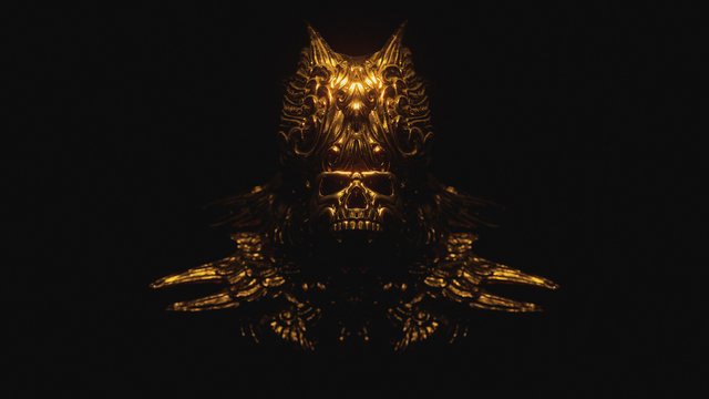 Scary golden skull in a decorative bronze crown with oriental ornaments. Concept art of a creepy gothic skull of a dead ancient king. Dark fantasy. Devil Mask. 3d illustration on a dark background.