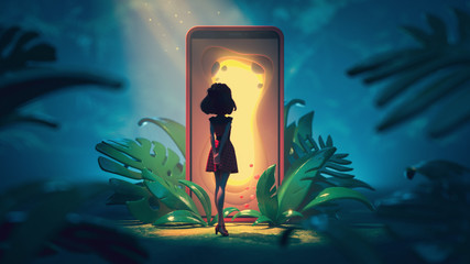Young girl looks at the magic gate with a glowing yellow light. Traveler stands near smartphone with portal screen to another world. 3d illustration of the game location of cartoon girl in the jungle.