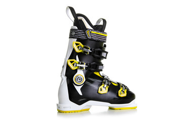 Profesional Yellow ski boots isolated on white background