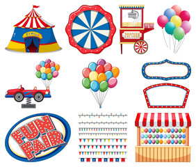 Poster Kids Set of circus items on white background