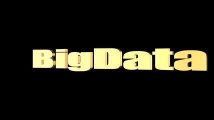 3d rendering of BigData wording with black background