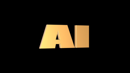 3d rendering of 3D AI wording with black background