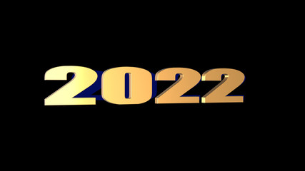 3d rendering of 3D 2022 wording with black background