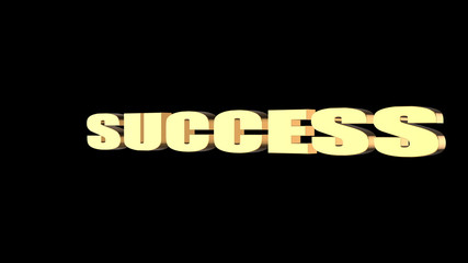 3d rendering of SUCCESS wording with black background