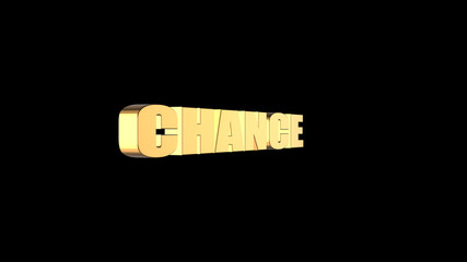 3d rendering of 3d CHANCE wording with black background