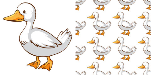 Seamless background design with cute duck