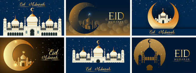Six background designs for Muslim festival Eid Mubarak