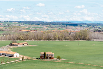 Panoramic view of rural landscape with farm in Castile, Spain