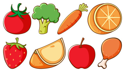 Set of different types of fruits and vegetables