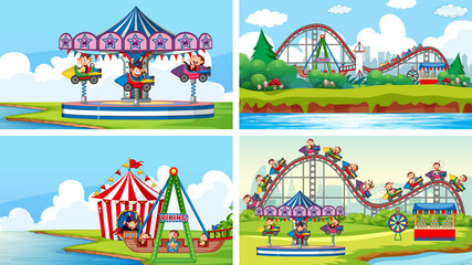Foto op Canvas Kids Four scenes with many rides in the fun fair