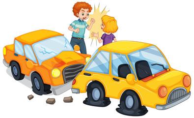 Foto op Canvas Kids Accident scene with car crash