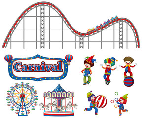 Large set of carnival items and clowns on white background