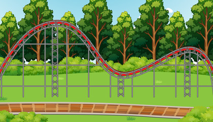Foto op Canvas Kids Scene with empty roller coaster track in the park