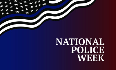 National Police Week - flag United States with blue line - symbol of honor of police.  Poster, card, banner and background. ESP 10 vector   Fotomurales
