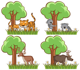 Foto op Canvas Kids Set of wild animals in the park with pond and tree