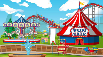 Foto op Canvas Kids Scene with roller coaster and carousel in the fair