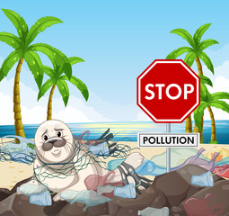 Foto op Canvas Kids Poster design with seal and stop pollution sign