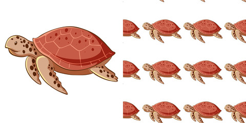 Foto op Canvas Kids Seamless background design with sea turtles