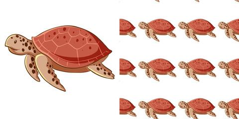 In de dag Kids Seamless background design with sea turtles