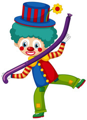 Foto op Canvas Kids Happy clown with purple balloon on white background