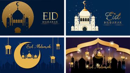 Foto op Canvas Kids Four background designs for Muslim festival Eid Mubarak