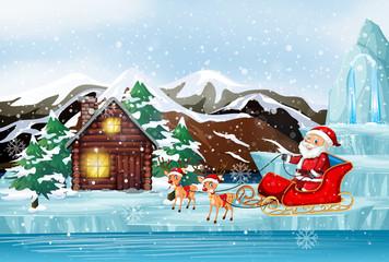 Foto op Canvas Kids Scene with Santa on sleigh