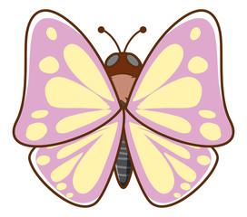 Foto op Aluminium Kids Pink butterfly on white background