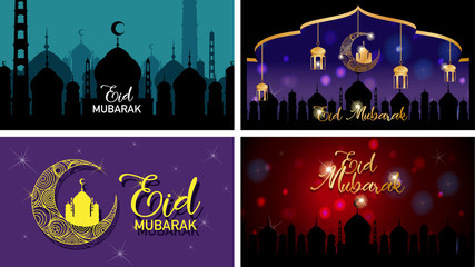 Four background designs for Muslim festival Eid Mubarak