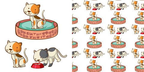 Fond de hotte en verre imprimé Jeunes enfants Seamless background design with cute cats