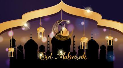 Foto op Aluminium Kids Background design for Muslim festival Eid Mubarak