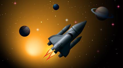 In de dag Kids Rocket in solar system scene