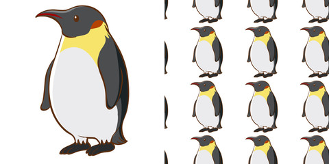 Seamless background design with cute penguin