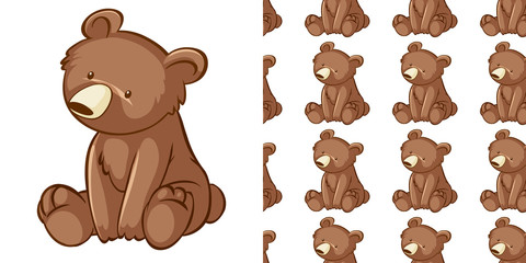 Seamless background design with little cub