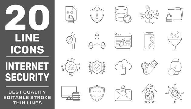 Modern thin line icons set of internet services and internet security. Simple linear pictogram pack. Vector logo concept for web graphics. Editable Stroke. EPS 10