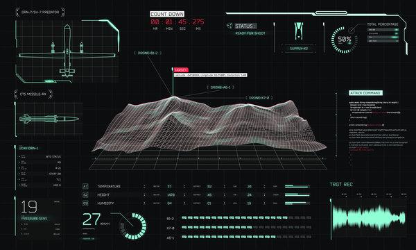 Control center 3D terrain drone surveillance, game/screen/movie interface